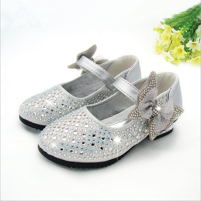 2018 spring and autumn new childrens shoes childrens princess shoes girls single shoes bow hot drilling leisure shoes