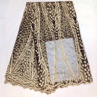 Gold African French Lace Fabric High Quality African Tulle Lace Fabric For Wedding Beaded French Lace