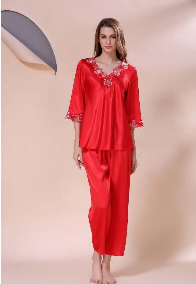 f46f21008d Luxury Women s Silk Pajamas Spring Summer autumn Female Lace Nightgown  Embroidered Satin Pyjamas Sleepwear Loungewear