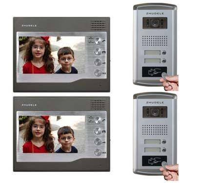 ZHUDELE Home Security For 2-Apartment 2 Doors 2X7Video Door Phone Monitor Intercom Doorbell+ HD IR Camera w/t ID Card Unlocking