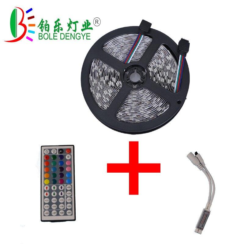 BOLE DENGYE 5M 5050RGB Neon ribbon Tape Non Waterproof 10M 15M 12V led strip light 44 key Remote rgb Controller for living roon