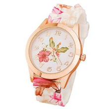 2017 hot sale beautiful Printed Flower printed nice Newly Women Silicone Causal Quartz Wrist Watches Watch