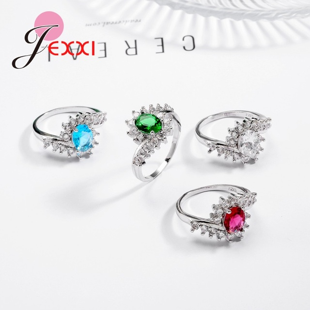 Fashion Ripple 925 Sterling Silver Europe  America New Drop Shape Crystal Zircon Ring Jewelry Small Crystal 4