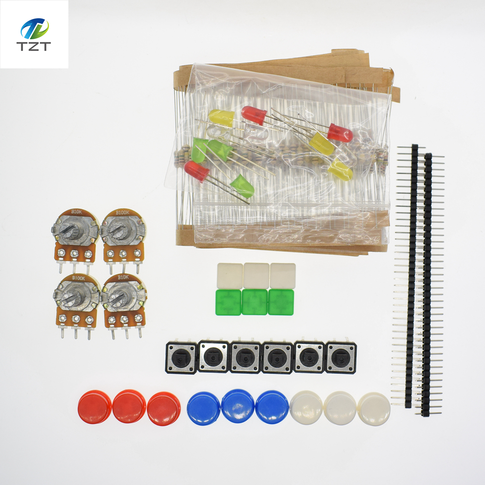 1 Set Portable Diy For Arduino Starter Kit Uno R3 Led Potentiometer Tact Switch Pin Header Resistor Kit Compatile With Uno R3 Demo Board & Accessories