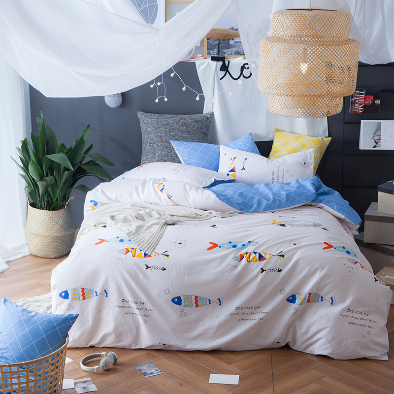 cool new arrival color seafish print bedding set cotton 100 kids bedding pillowcases coverlet duvet cover single double queen