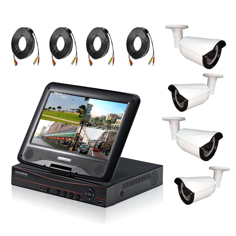 HD 720P 4ch LCD AHD DVR Kit for security Camera System with 10 1 inch LCD