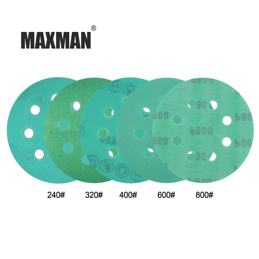 MAXMAN 10Pcs 5Inches 125mm Round Sandpaper Eight Hole 60-2000 Grits Green Film Sanding Disk Flocking Water Sand Dry/Wet Grinding