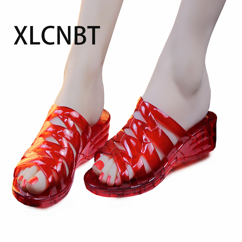 2018 summer transparent crystal jellies sandals female high heels sandals women slippers antiskid beach shoes ladies slipper swonco women s slippers half shoes candy color breathable female slipper 2018 woman slippers summer sandals ladies beach shoes