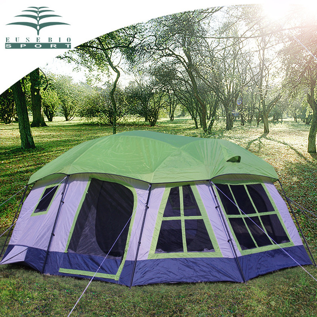 Cheap EUSEBIO outdoor activity marquee 8 bunk tent camping professional large-scale wind and rain tent large family outdoor tent