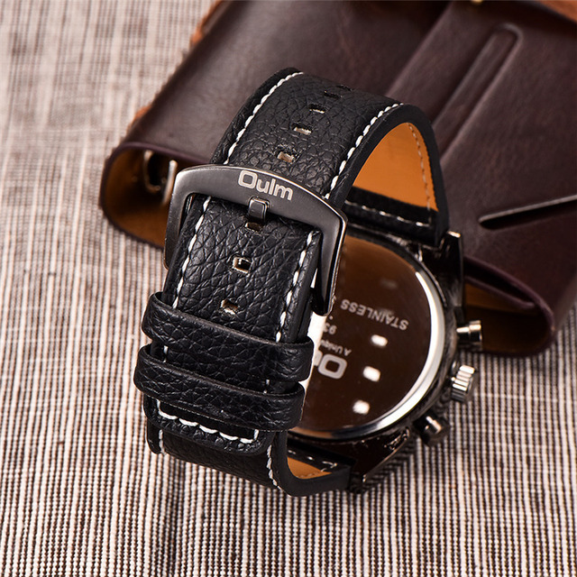 Luxury Leather Strap Military Wrist Watch