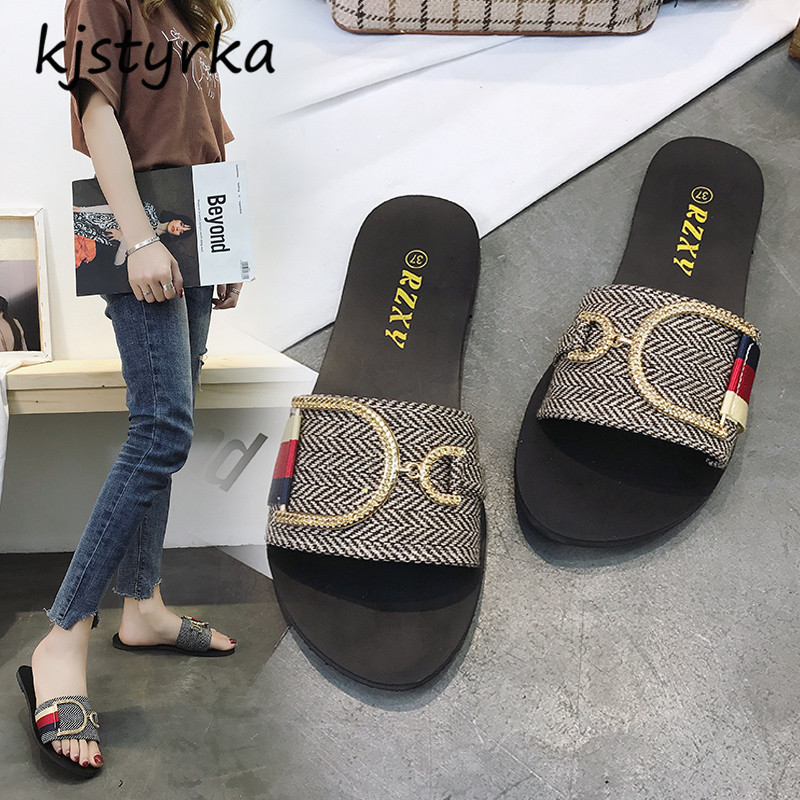 Kjstyrka sandales femme 2018 nouveau Brand Designer Summer Women Slippers ladies Slides Female flats slippers Zapatillas mujer