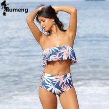 3ccc89235d RUMENG High Waist Swimsuit 2018 New Ruffle Bikinis Women Swimwear Bandeau  Print Flora Bathing Suits(