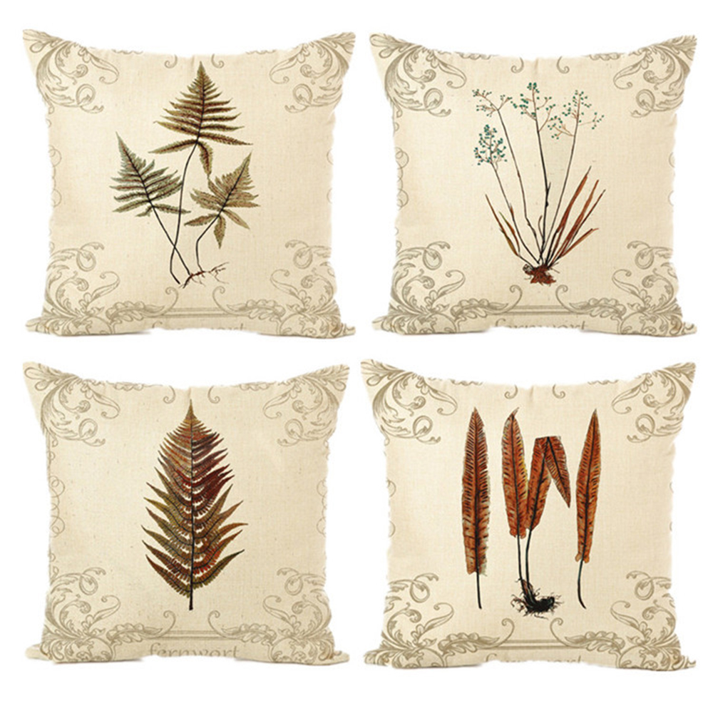 Printed Cushions Covers with Flower Linen Cotton Throw Pillow Covers Cases Home Decor Pillowcases for Sofa Couch Bedroom 45x45