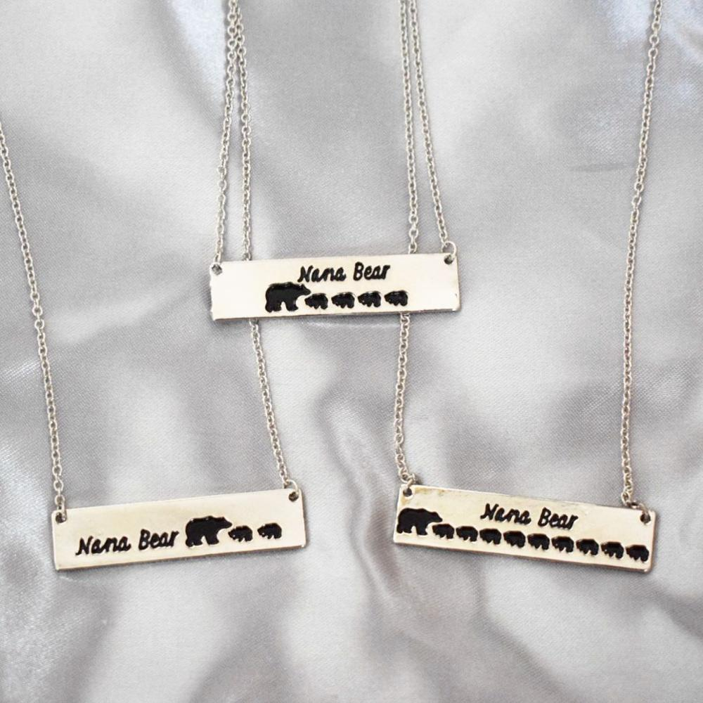 Engraved Letters Nana Bear 9 Cubs Baby Bears Grandma Necklace