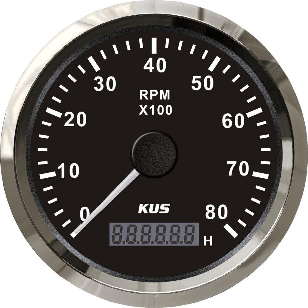 KUS Marine Tachometer Gauge With Hour meter Boat RPM Tachometer 8000RPM 12V 24V With Backlight