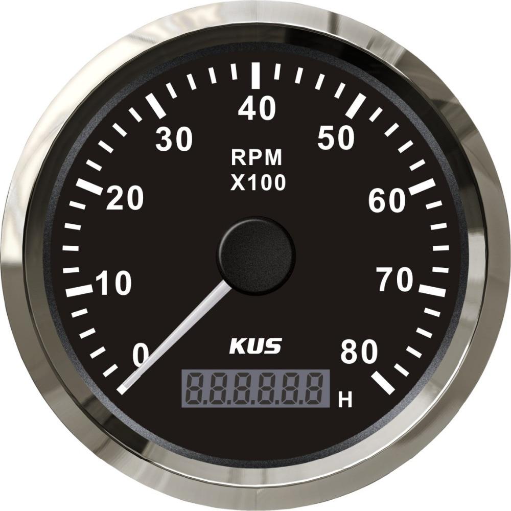 kus marine tachometer gauge with hour meter boat rpm tachometer 8000rpm 12v 24v with backlight. Black Bedroom Furniture Sets. Home Design Ideas