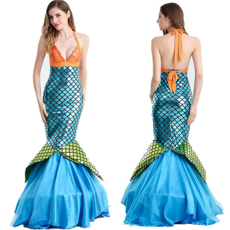 Deluxe Sexy Sequined Mermaid Dress Ariel Princess Cosplay Party clothing  Adult Mermaid Tail Skirt Halloween Costume for woman-in Movie   TV costumes  from ... abe44edc02c5