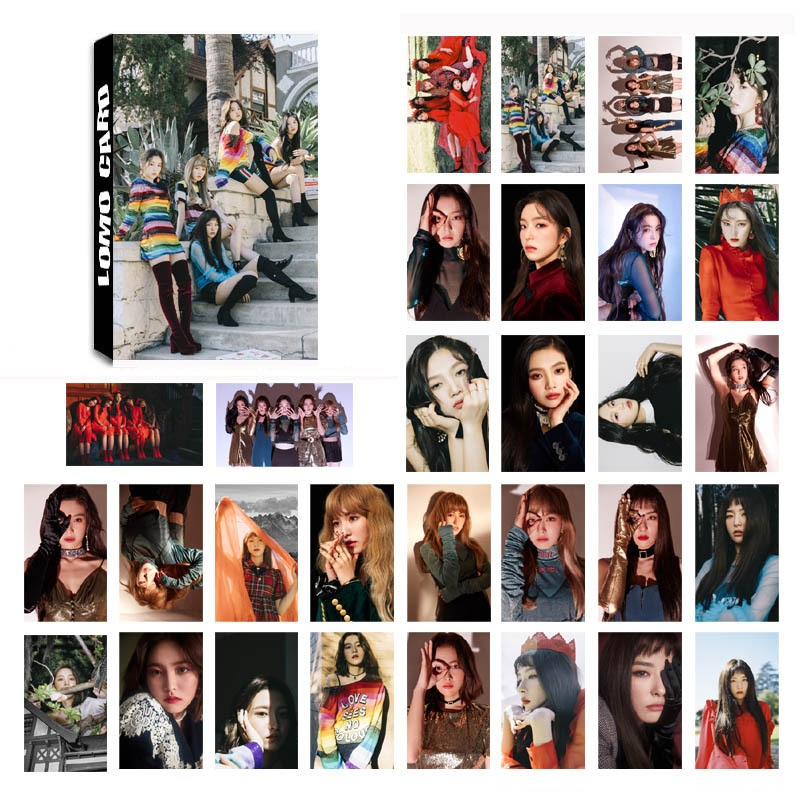 New 30Pcs/Set K-POP Red Velvet Album Paper Poster Photo Card DIY Lomo Card Postcard Kawaii Stationery Gift