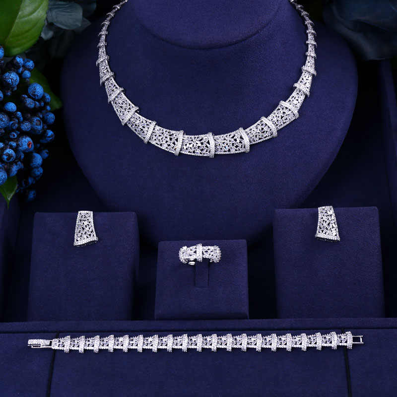 janekelly Luxury cubic zirconia necklace bracelet earrings and ring 4pcs dubai full jewelry set for women,bridal dress dinner