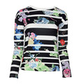 Высокое качество Женщины Полосатый Блузка Мода Цветочный Принт Футболка О-Образным Вырезом С Длинным Рукавом Свободные Топы Для Леди