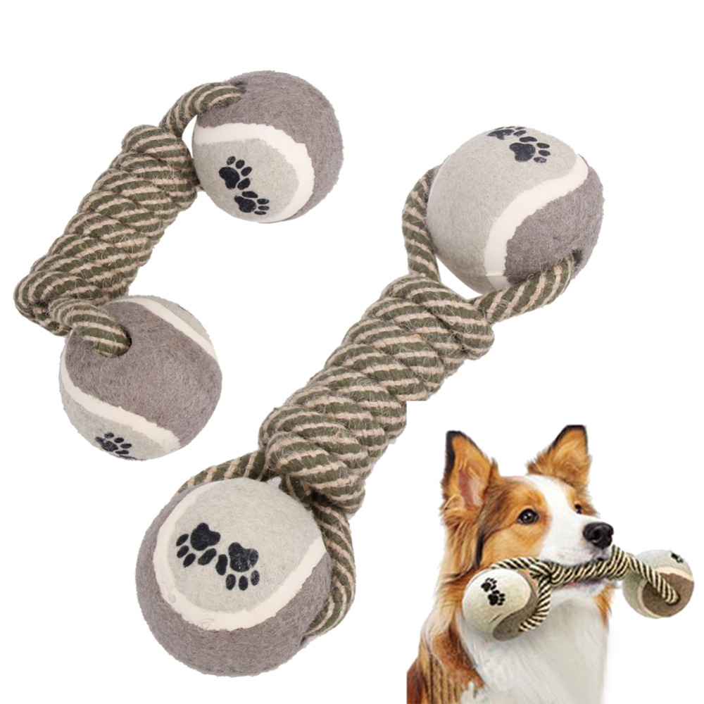 Dog Chew Toy Dumbbell Tennis Double Ball Cotton Rope Toy Puppy Dog Clean Teeth Training Tool For Dogs