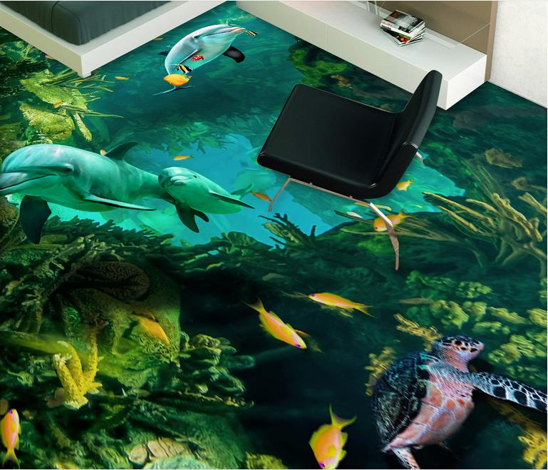 self adhesive wallpaper Custom 3d floor wallpaper Dolphin mother and son wallpapers for living room 3d floor tiles