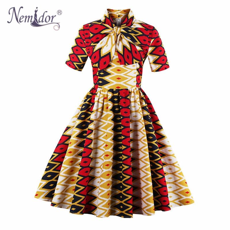 Nemidor Women Vintage Half Sleeve Hepburn Style Rockabilly Dress Elegant Hot Sales Patchwork Plus Size Swing Dress