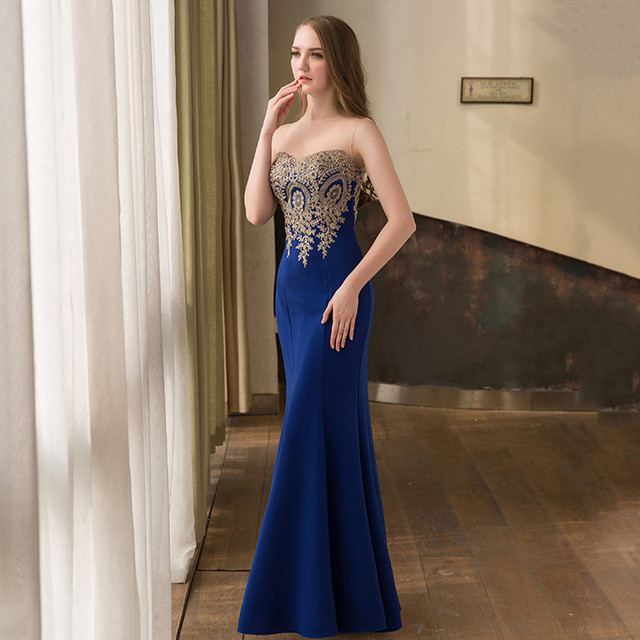 2017 In Stock Mermaid Evening Dresses Long Formal Evening Gowns Mesh ...