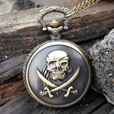 High Quality 47X47MM New Arrival Big Size Antique brass The one eyed pirates Pocket Watch wholesale