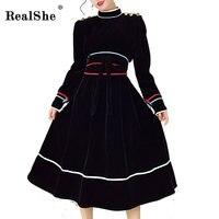 RealShe Phụ Nữ Váy Đen Cổ Điển Nhung Váy Lady Cao Cổ Dài Tay Dây Thắt Lưng A Line Dress Rơi Phụ Nữ Phụ Nữ Đảng Dresses