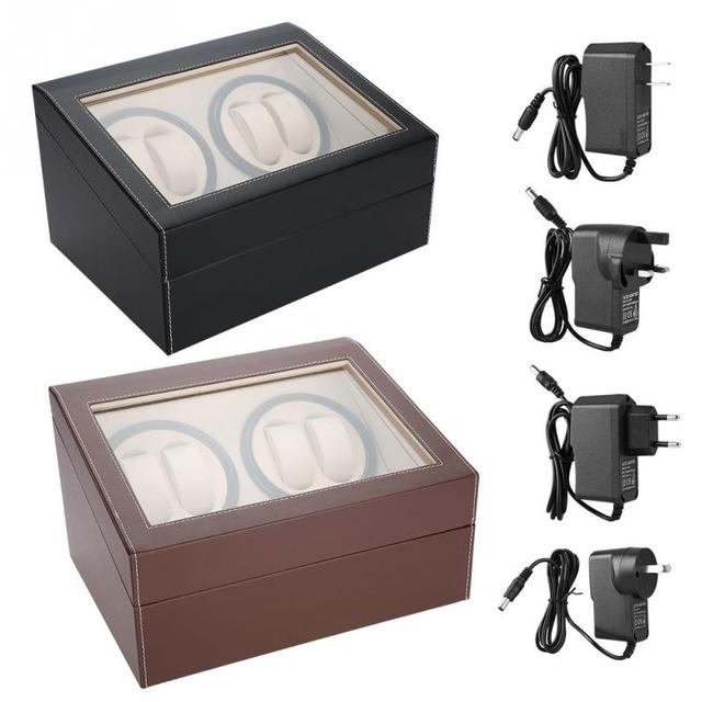 New Electric Watch Winder for 4 Automatic Watches  6 Grids Watch Storage Case Quiet Motor Multiple Rotation Watch Display Boxes