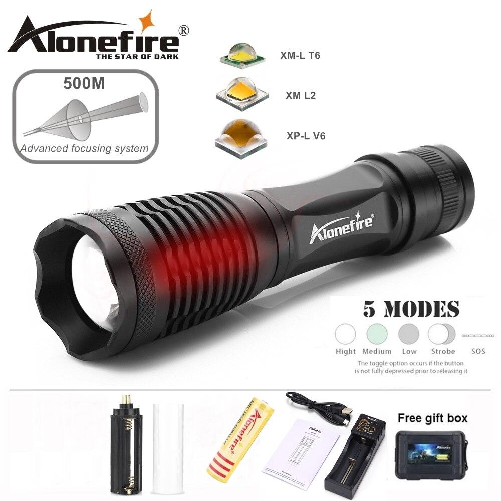 AloneFire E007 XML T6 L2 U3 V6 Aluminium Wasserdichte Zoom CREE LED Taschenlampe linterna für AAA 18650 Akku