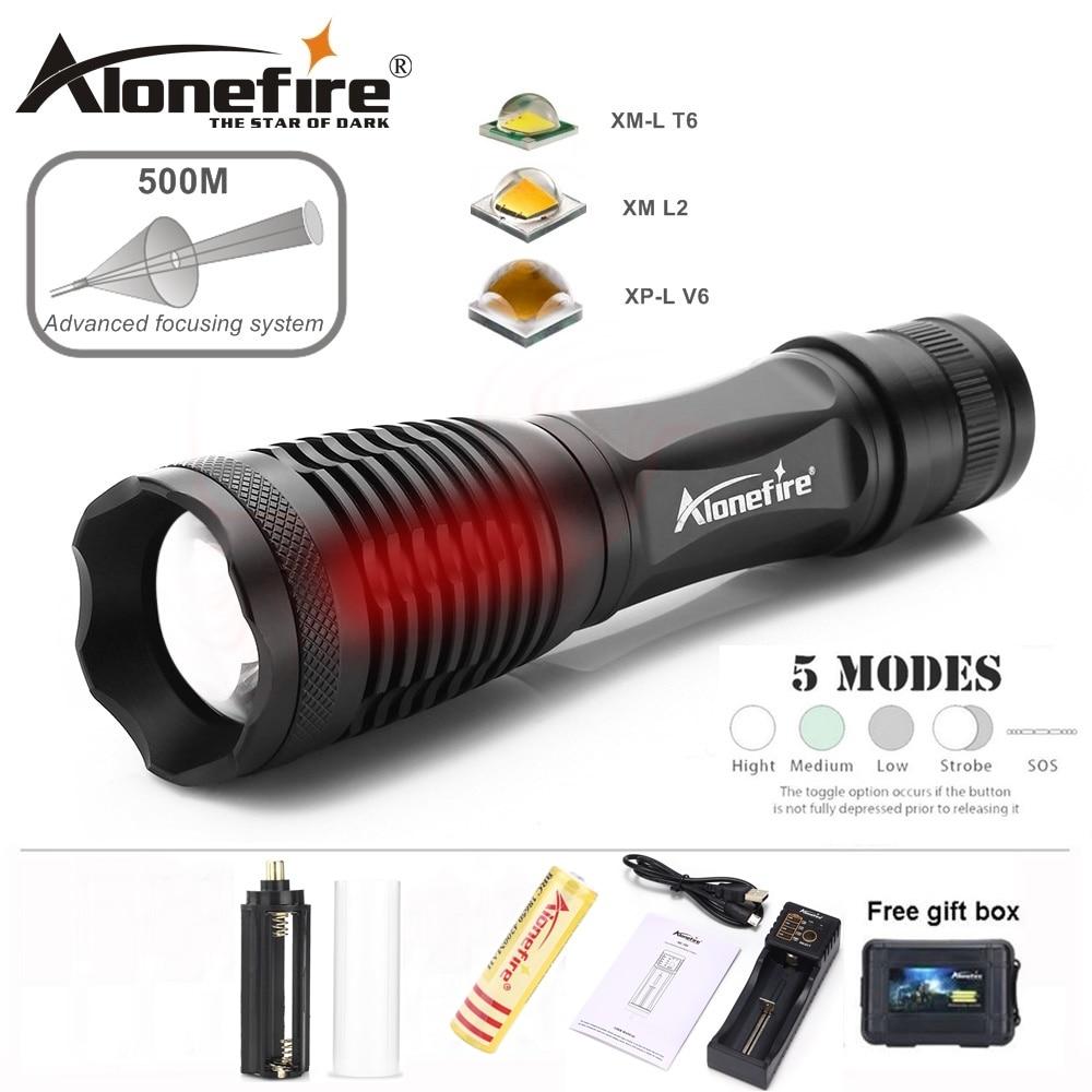 AloneFire E007 XML T6 L2 U3 V6 Aluminium Wodoodporny Zoom CREE LED Latarka Latarka Linterna dla AAA 18650 Akumulator