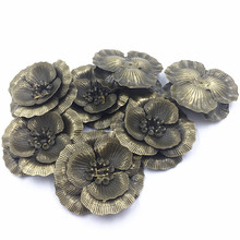 10Pcs Bronze Tone Rose Flowers Alloy Cameos Embellishment Bag Ornament Jewelry Diy Making Findings Crafts 4.6x4.3cm
