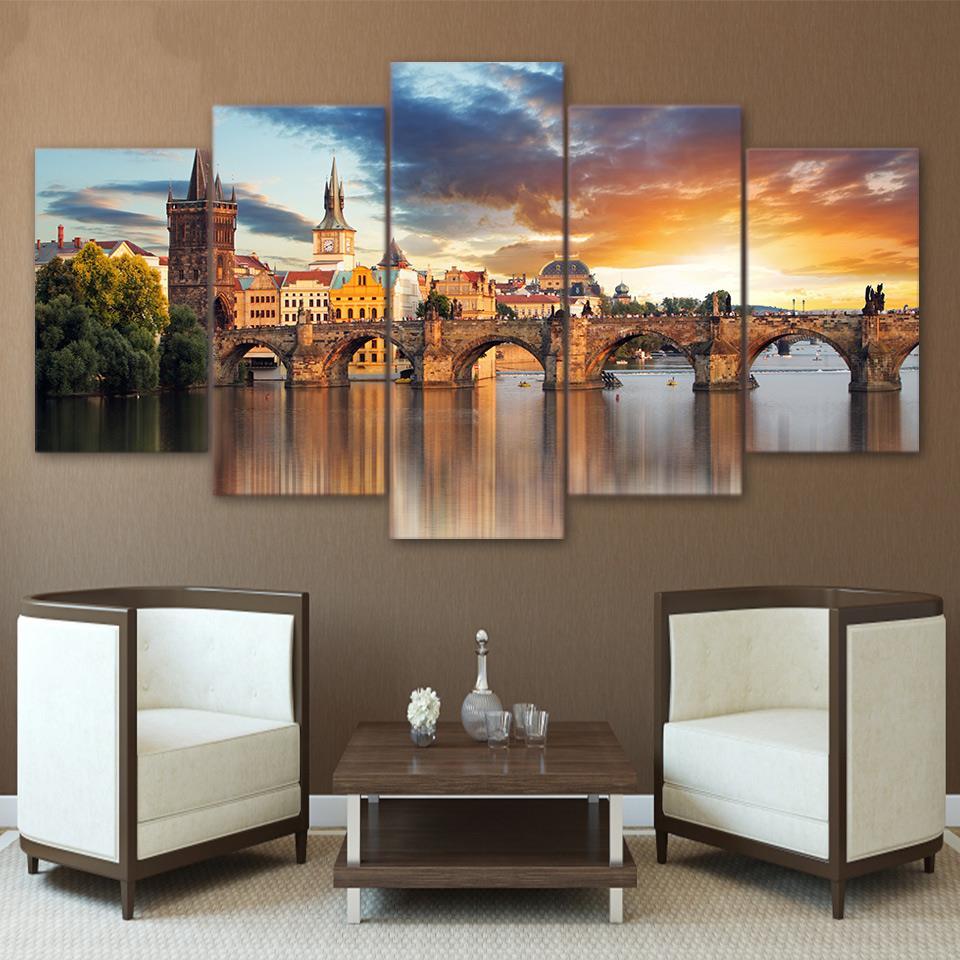 5 Teile/satz Gerahmte HD Gedruckt London Bridge Gebäude Landschaft ...