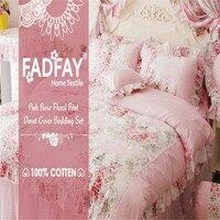FADFAY Home Textile Lixar Algodão Pink Rose Floral Capa de Edredão de Impressão conjunto Conjuntos de Cama Para Meninas 4 pcs Queen Size Rei Conjuntos de Cama