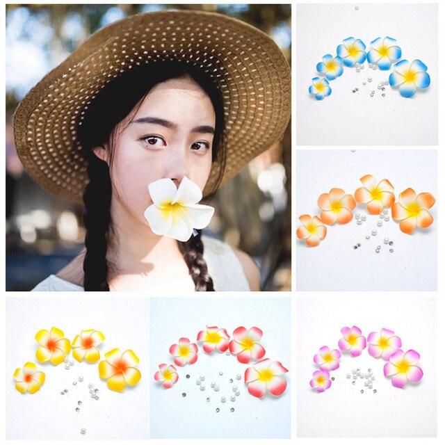 20 piezas Plumeria hawaiana espuma Frangipani Flor de seda Artificial Flor de huevo falso para decoración de fiesta de boda