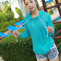 new Genuine UV sun protection transparent long sleeve shirt jacket women beach wear sunscreen cover-ups Sexy bikini outside