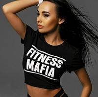 2017 hot selling European summer hot style women's T shirt Show your belly button T shirt letter printed sexy T shirt
