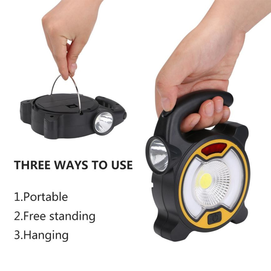 NEW 2 in 1 Portable USB Rechargeable 3 Modes COB LED Camping Tent Lamp Flood Light Outdoor Garden Spot Lamp Waterproof Durable