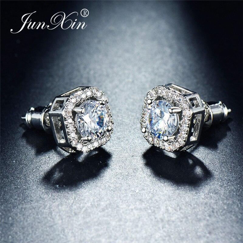 Luxury Female White Zircon Stone Earrings Silver Color Crystal Round Stud Earrings For Women Vintage Wedding Jewelry