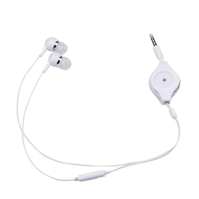 Whole Sale 3.5mm Retractable Earphone In Ear Bass Stereo Headset with Mic fone de ouvido for Smartphone MP3 #YL