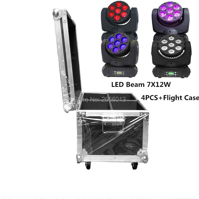 4pcs with Flight case 7x12W led beam moving head RGBW 4in1 dmx512 control moving wash light led spotlights professional dj light