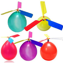 10Pcs/ Lot funny Traditional Classic sound Balloon Helicopter UFO Kids Child Children Play Flying Toys ball outdoor fun sports(China)