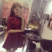 Japanese Harajuku Vintage Gothic Lolita Black Red Wathet Pink Slim Chinese Cosplay Style Cheongsam Dress HOT