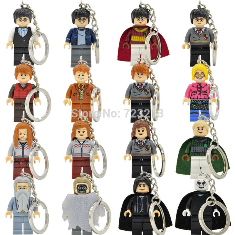 Harry Potter Figure Keychain Hermione Draco Malfoy Legoingly Snape Lord Voldemort Ring DIY Key Chain Building Blocks Models Toys 2pcs lot harry potter series death eater mask halloween horror malfoy lucius resin masks toy private party cosplay toys gift