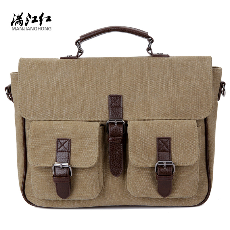 Men Messenger Bags Vintage Canvas Briefcase Shoulder Bag Mens Canvas Handbag Laptop Office Briefcase Rucksack Tote aosbos fashion portable insulated canvas lunch bag thermal food picnic lunch bags for women kids men cooler lunch box bag tote