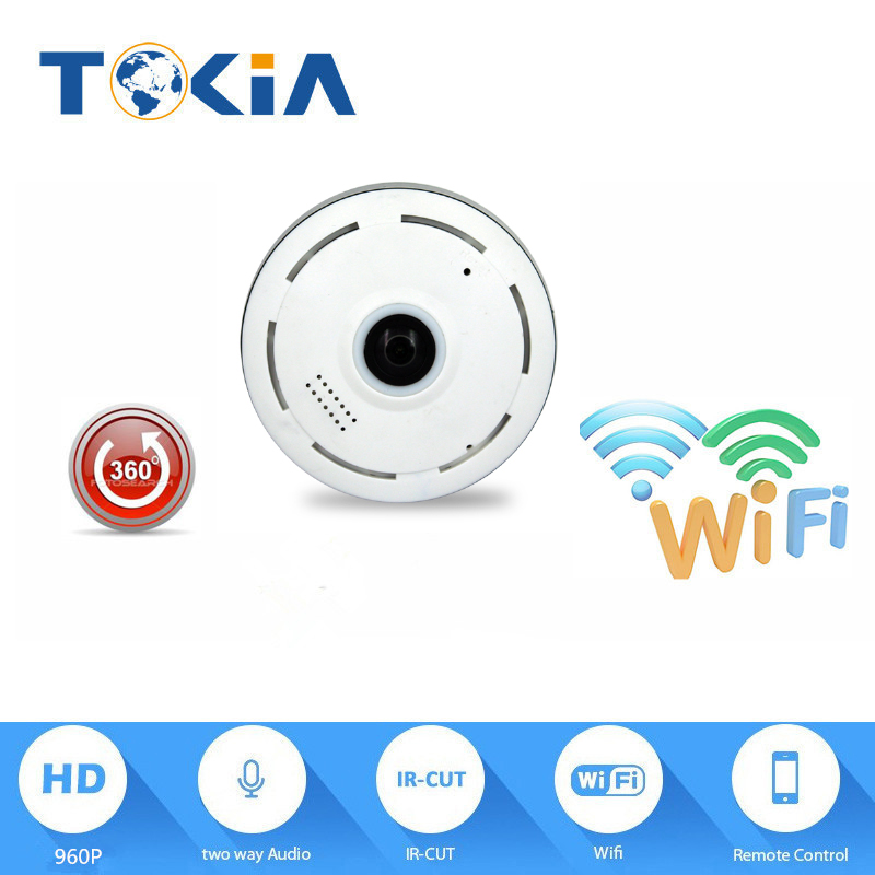 HD Wifi fisheye lens 960p Wireless ip camera audio 360 Degree panoramic view night vision  wireless wifi camera erasmart hd 960p p2p network wireless 360 panoramic fisheye digital zoom camera white