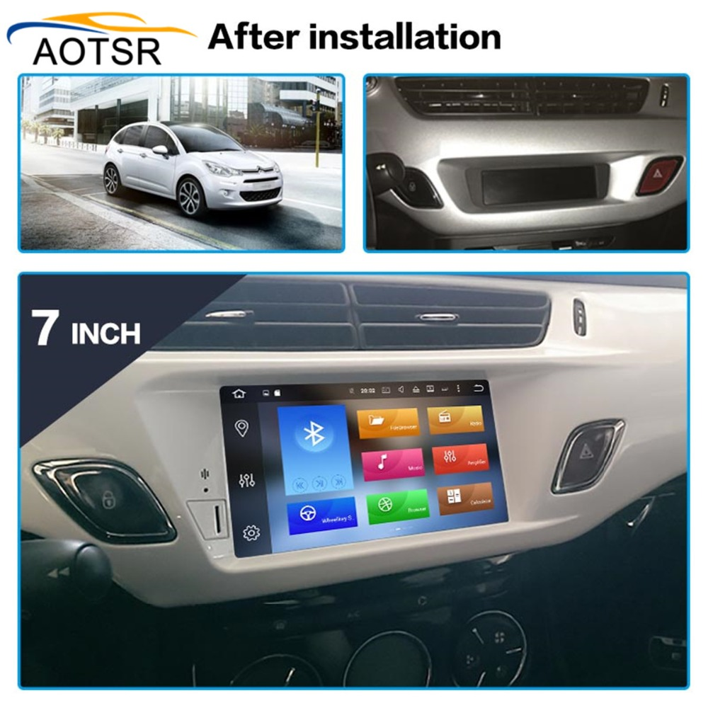 IPS Screen Android 9.0 Car <font><b>DVD</b></font> multimedia Player head unit For Citroen C3 DS3 2010-2016 Car Radio stereo <font><b>GPS</b></font> navigation 3+32G BT image