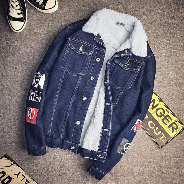 90f579ceed501 CLASSDIM Winter Warm Denim Jacket Coats Men Thicker Warm Jean Coats Winter  Denim Jackets Men Winter Jean Jackets Size 5XL
